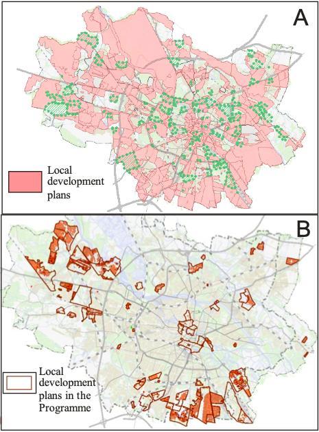 Location the local development plans in Wrocław (Poland)